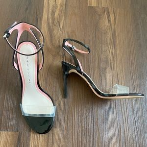Black pink nude clear strap patent leather heels